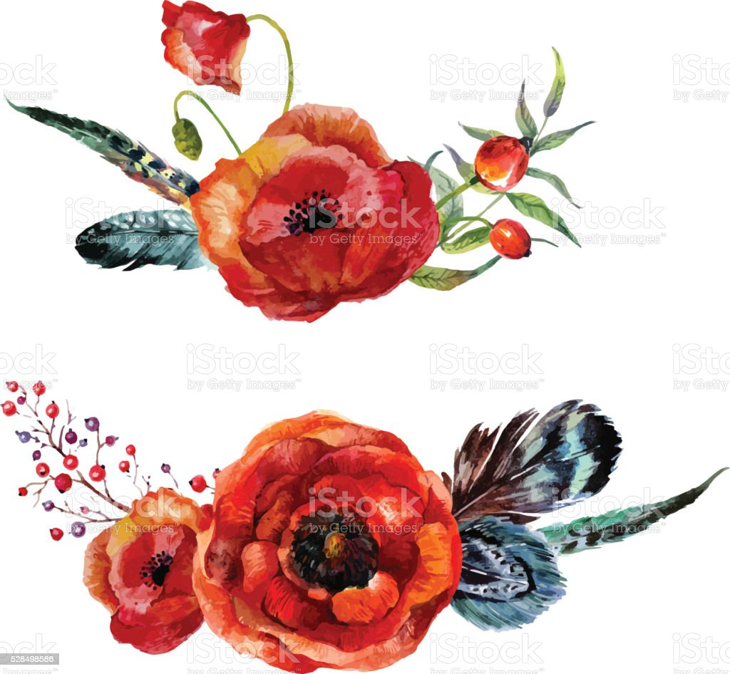 Watercolor flowers bouquet vector art illustration