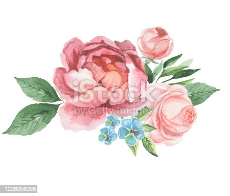 istock watercolor flowers for design card, postcard, textile, flyer 1226056058