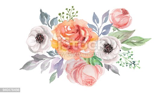istock watercolor flowers for design card, postcard, textile, flyer 940476456