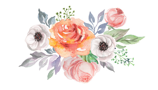 watercolor flowers for design card, postcard, textile, flyer