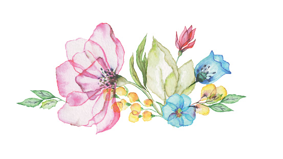 watercolor flowers for design of flyers, banners, cover, card, postcard