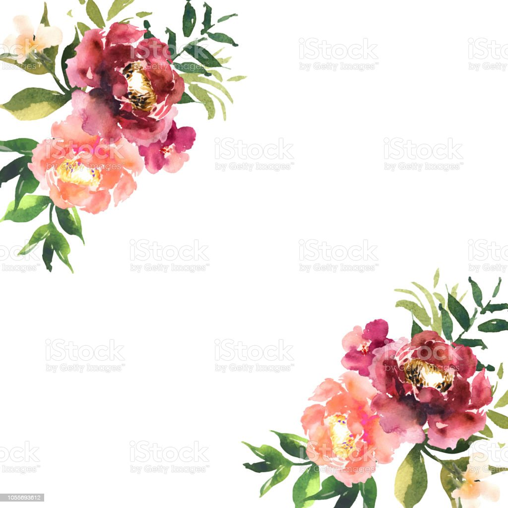 Watercolor flowers in frame, hand drawn for print, cards design. Modern pattern with colorful roses with place for text. Vector royalty-free watercolor flowers in frame hand drawn for print cards design modern pattern with colorful roses with place for text vector stock illustration - download image now