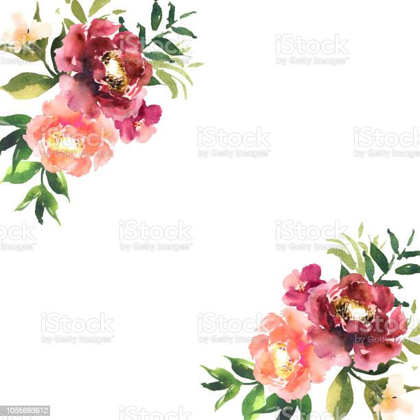 Watercolor flowers in frame hand drawn for print cards design modern vector id1055693612?b=1&k=6&m=1055693612&s=612x612&h=x6dtwlqsnmdyuh5j3 jnjfbe4h5stlgyk2iegfujbbg=