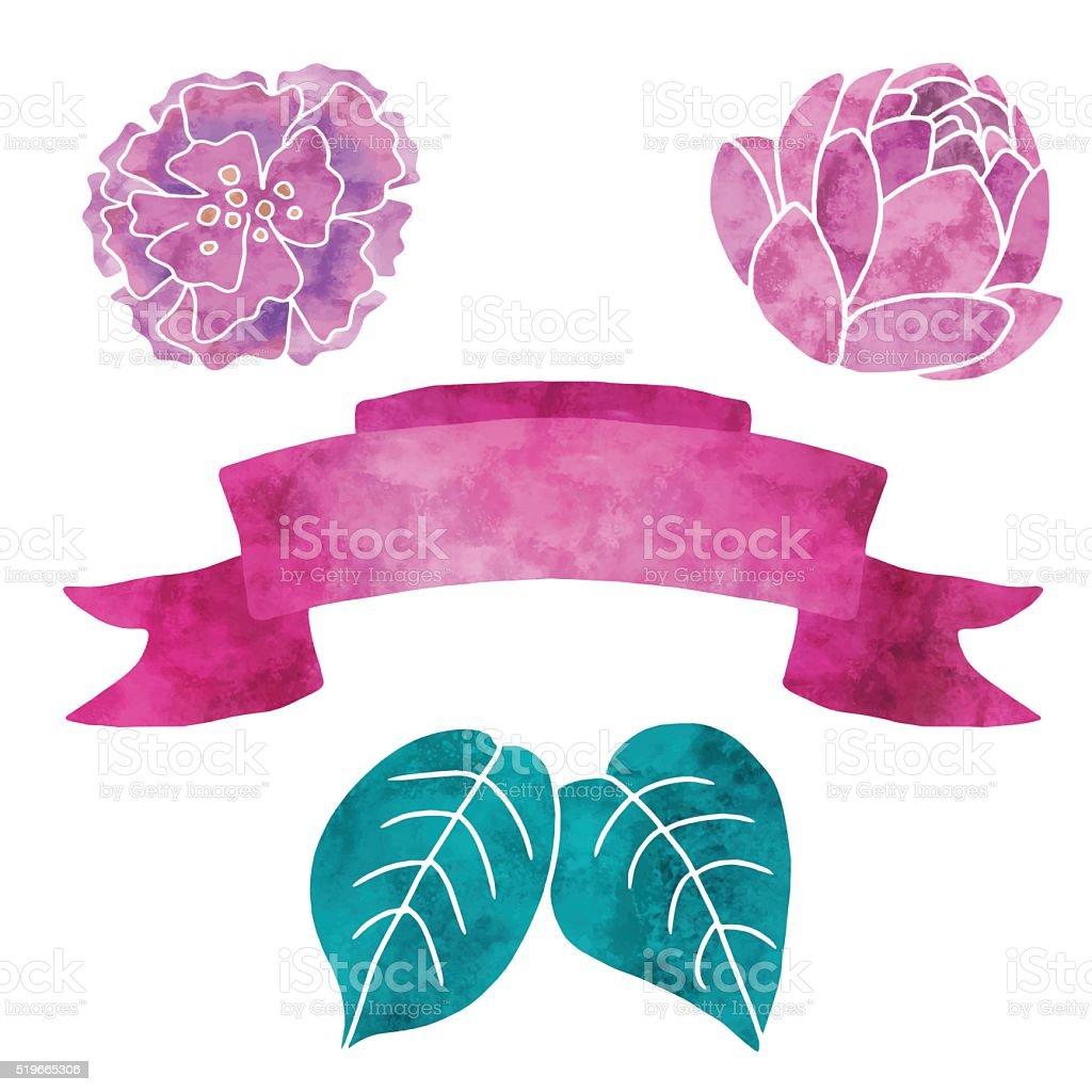 Watercolor flowers, leaves, ribbon vector art illustration