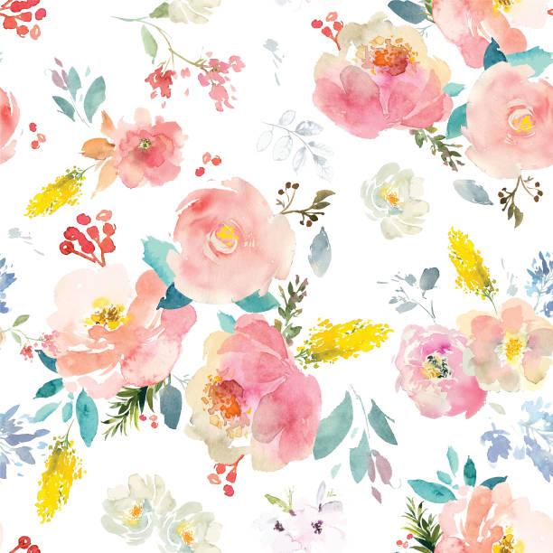 bildbanksillustrationer, clip art samt tecknat material och ikoner med akvarell blommor vector format - blommönster