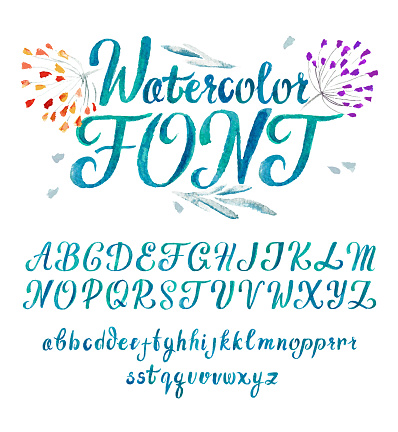 Watercolor font Lettering typography. Isolated Vector set