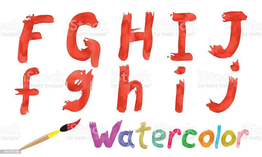 Watercolor font vector art illustration