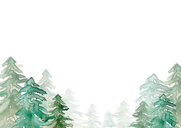 bildbanksillustrationer, clip art samt tecknat material och ikoner med akvarell skog illustration - forest
