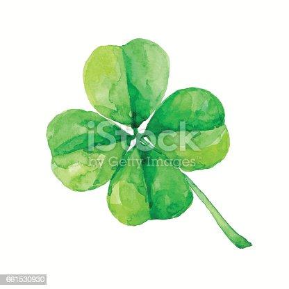 watercolor four leaf clover