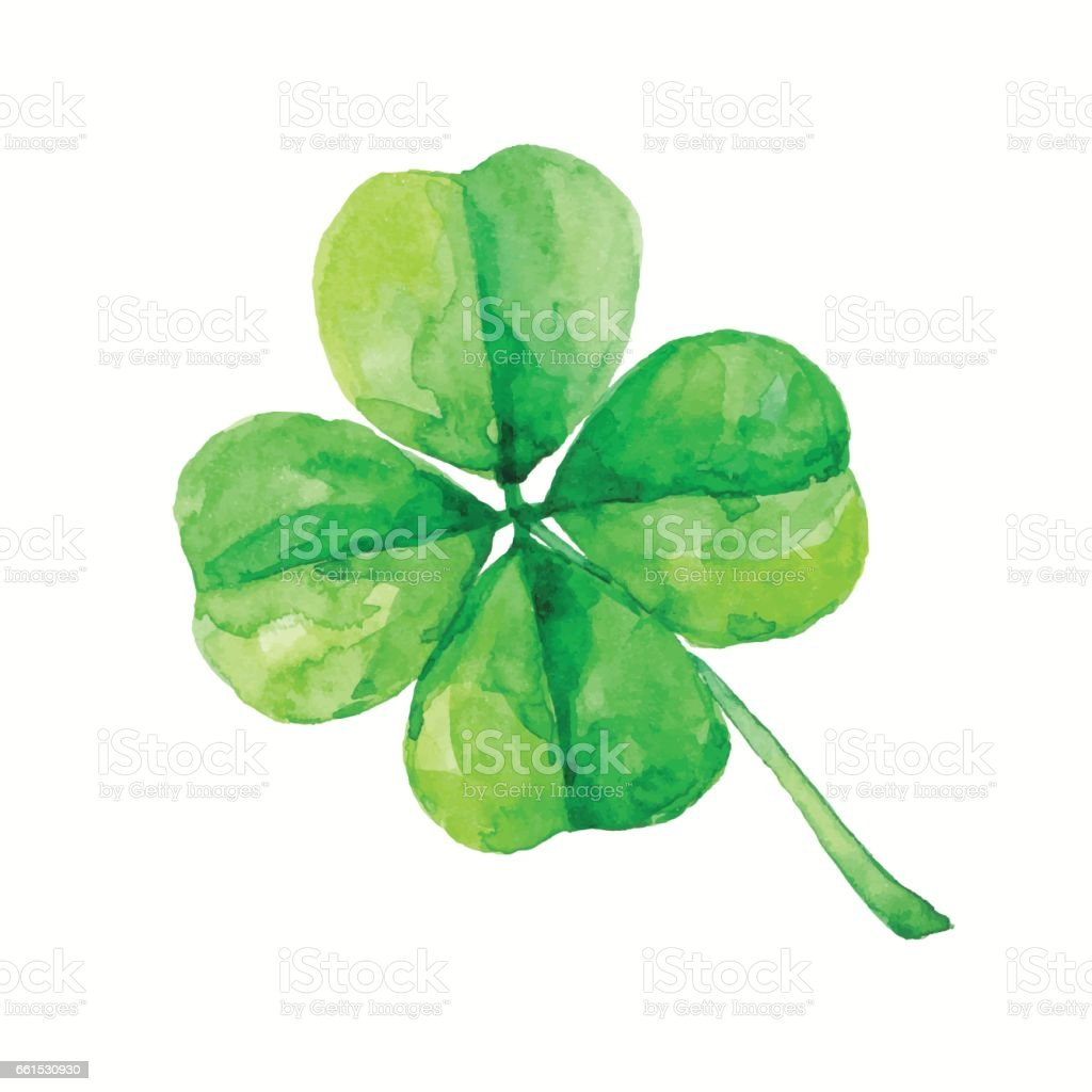 Watercolor Four Leaf Clover vector art illustration