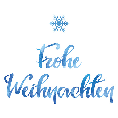 """Watercolor """"Frohe Weihnachten"""" inscription with a snowflake"""