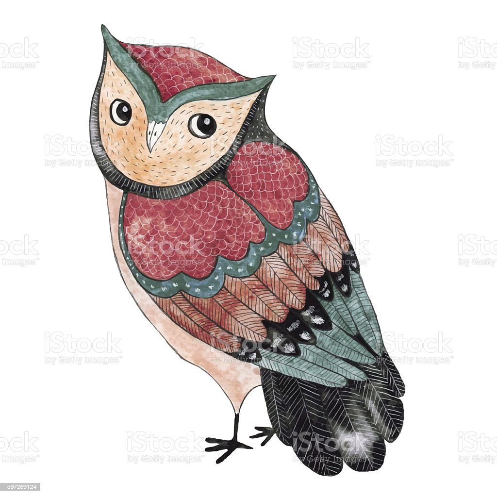 Watercolor funny kids illustration with owl royalty-free watercolor funny kids illustration with owl stock vector art & more images of animal