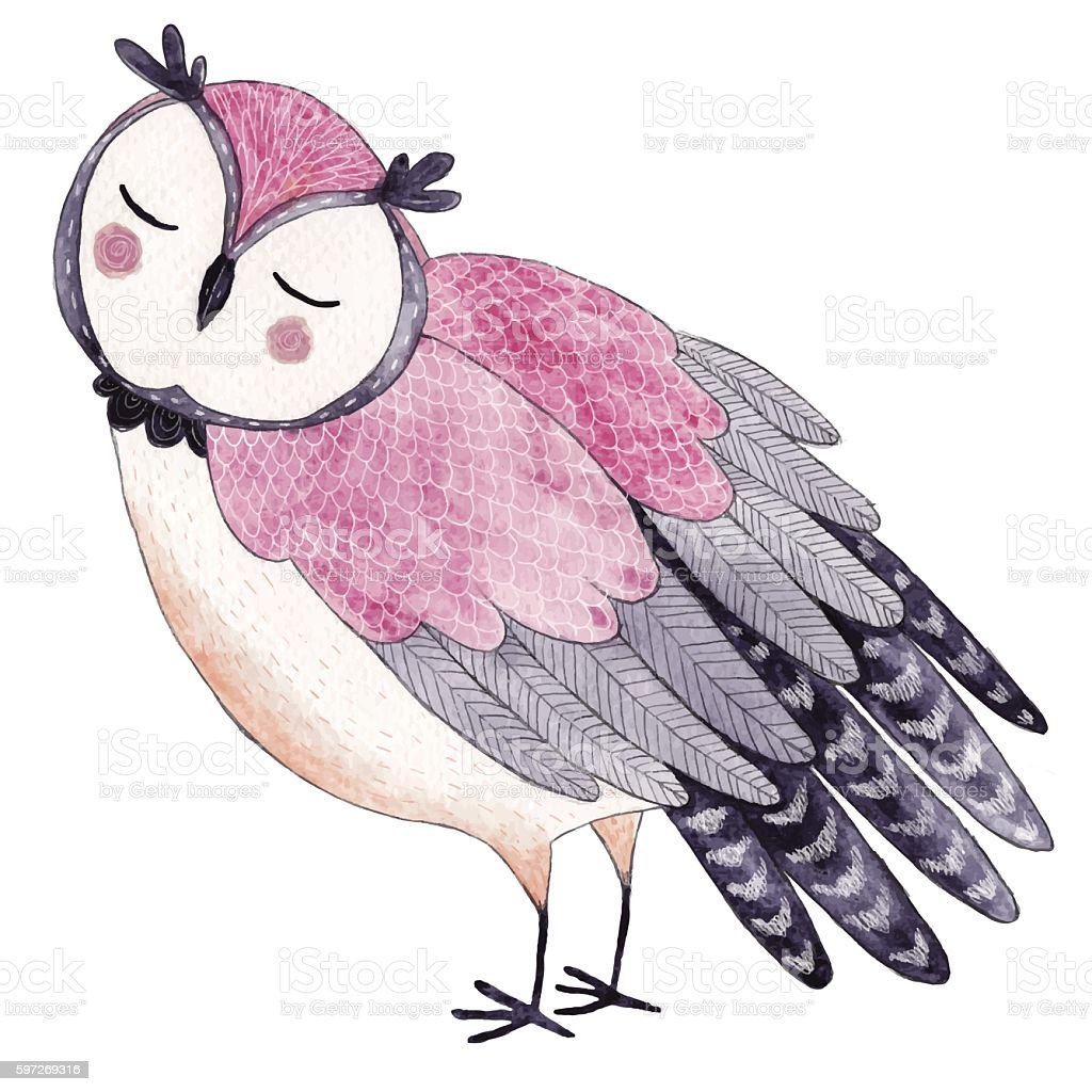 Watercolor funny kids illustration with owl - ilustración de arte vectorial