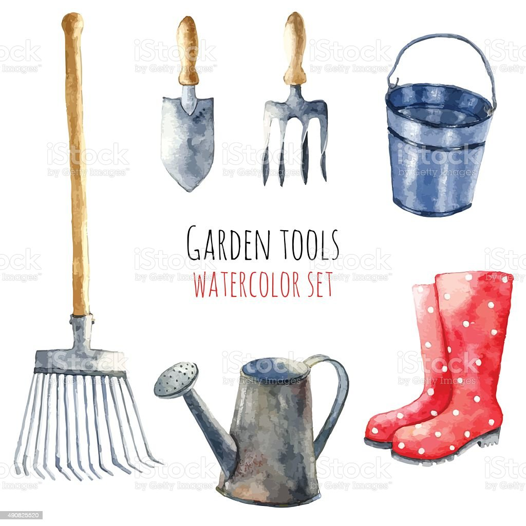 Watercolor garden tools. vector art illustration