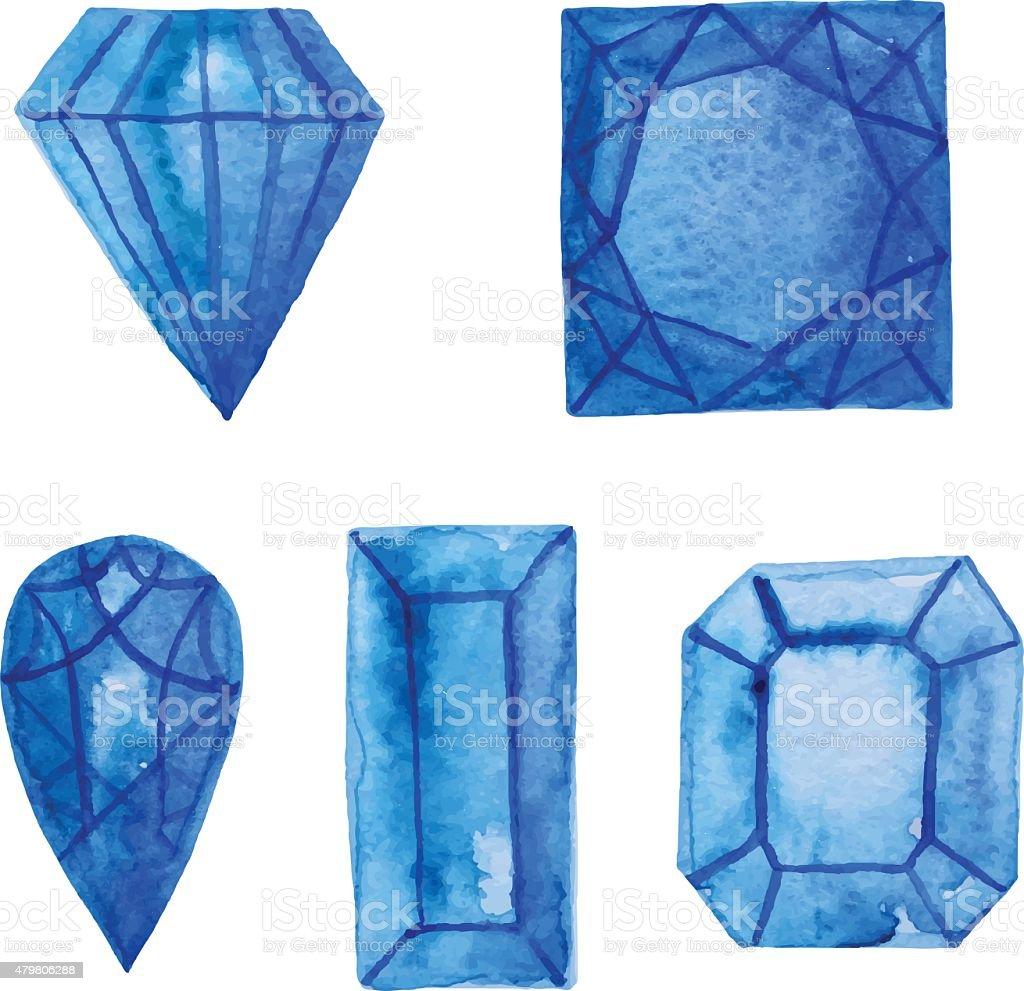 Watercolor gem set vector art illustration
