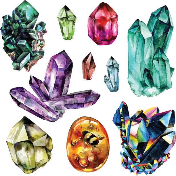 stockillustraties, clipart, cartoons en iconen met watercolor gems collection - edelsteen