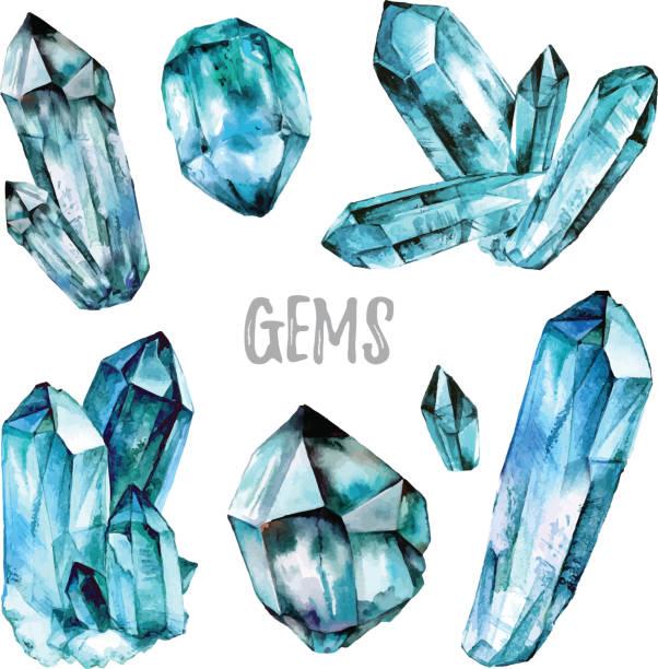 Acuarela colección de joyas - ilustración de arte vectorial