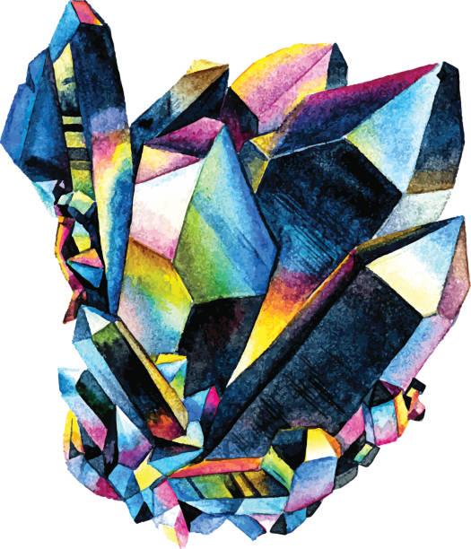 Watercolor gemstone. Hand drawn illustration - ilustración de arte vectorial
