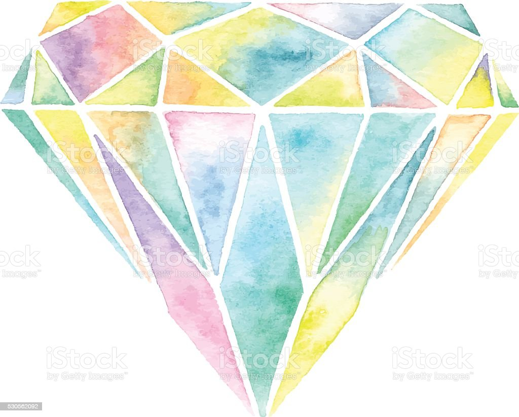 Watercolor Gemstone vector art illustration