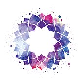 Geometric mandala flower frame. Watercolor texture and splash. Colorful blue, purple, pink colors. Cosmic space texture. Vector illustration edited