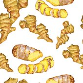 Watercolor ginger root, Hand drawn ginger illustration isolated on white background, seamless pattern, Organic healthy food ingredients for farmer market, restaurant menu, wallpaper, harvest festival
