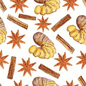 Watercolor ginger root, star anise, cinnamon, Hand drawn ginger illustration isolated on white background, seamless pattern, Organic healthy food ingredients for farmer market, restaurant menu, paper