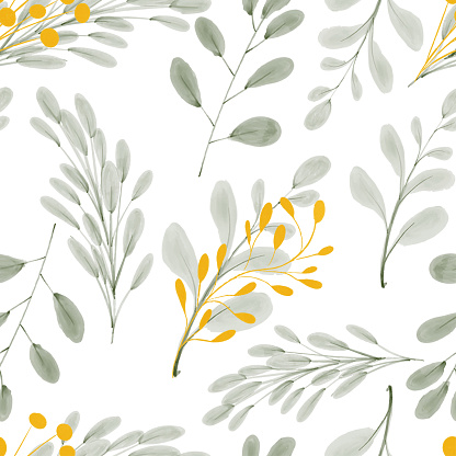 watercolor gold leaf foliage seamless pattern