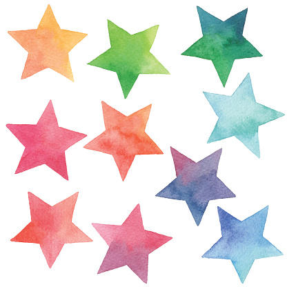 Watercolor Gradient Stars Stock Illustration - Download Image Now