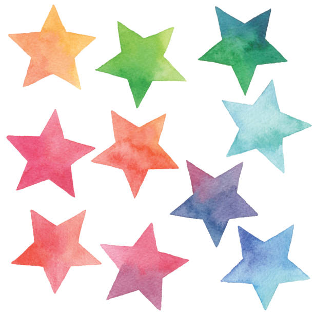 illustrazioni stock, clip art, cartoni animati e icone di tendenza di watercolor gradient stars - stelle