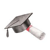 Vector illustration of graduate hat.