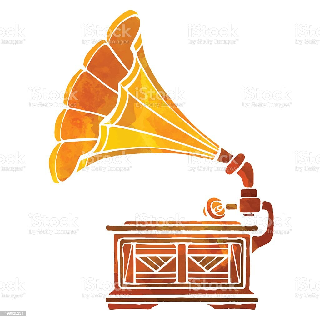 watercolor gramophone stock illustration download image now istock 2