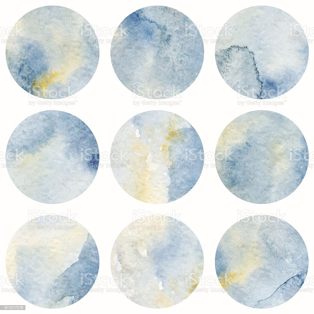 Watercolor gray marble vector circle  background texture vector art illustration