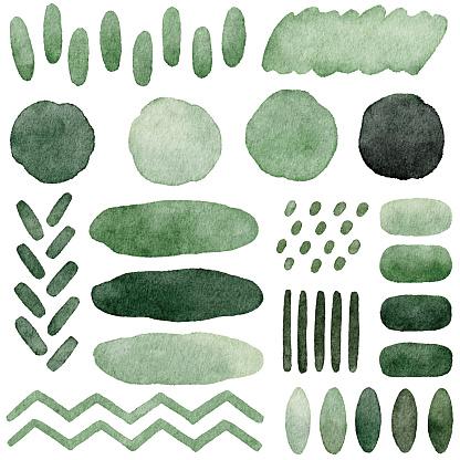 Watercolor Green Abstract Shapes