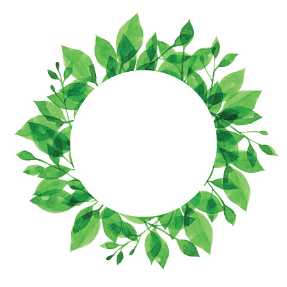Watercolor Green Branch Frame With White Circle