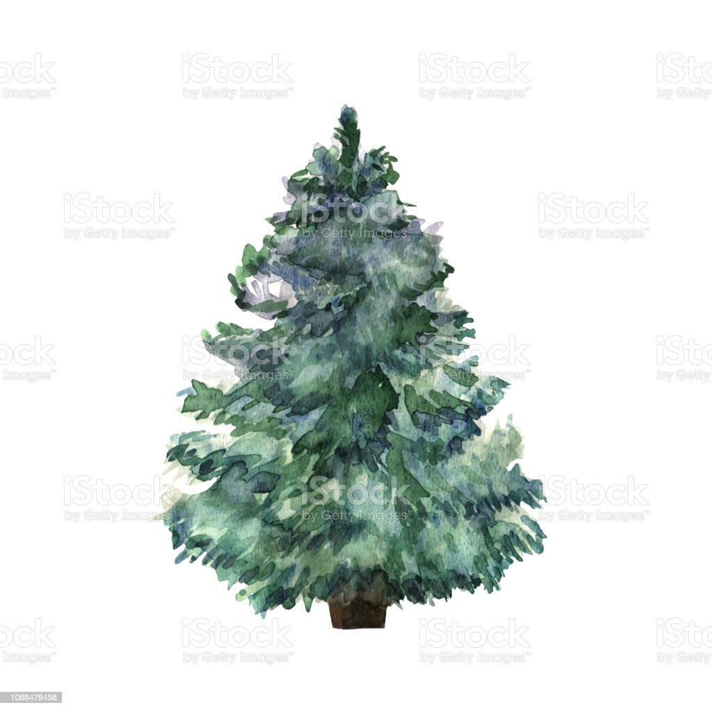 Aquarell, grünen Weihnachtsbaum auf weißem Hintergrund. Isolierte handgezeichneten Pflanze für Ihr Design. Vektor - Lizenzfrei Abstrakt Vektorgrafik