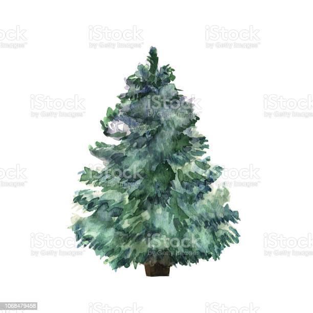 Aquarell Grünen Weihnachtsbaum Auf Weißem Hintergrund Isolierte Handgezeichneten Pflanze Für Ihr Design Vektor Stock Vektor Art und mehr Bilder von Abstrakt