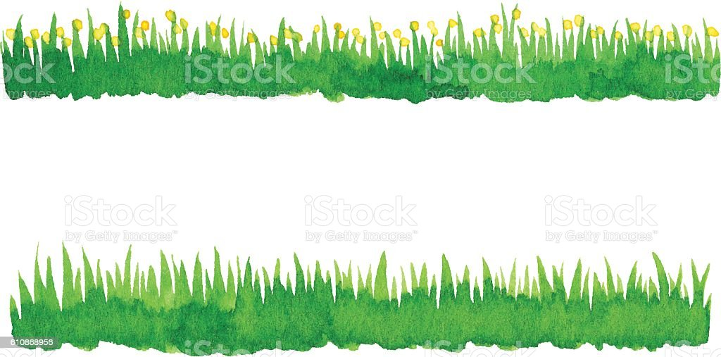 Watercolor Green Grass vector art illustration