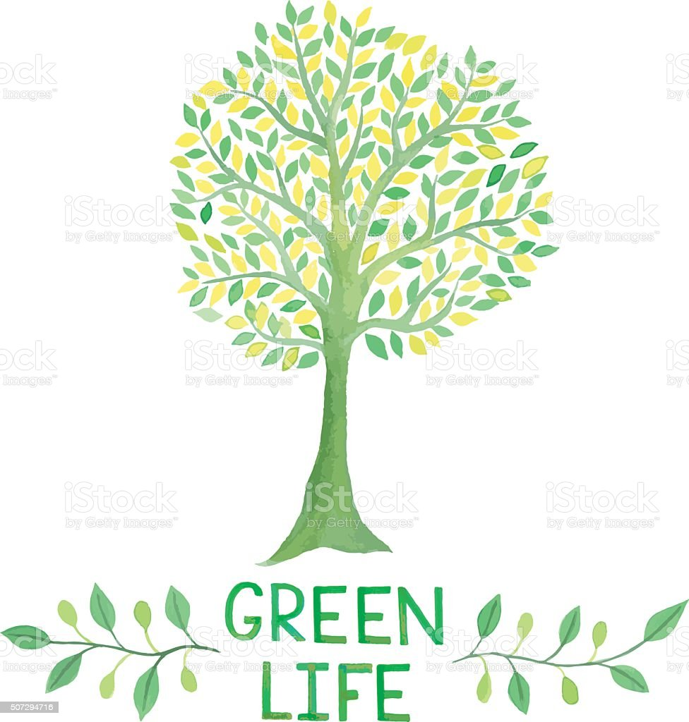 Watercolor Green Logo With Green Tree Green Life Stock Vector Art ...