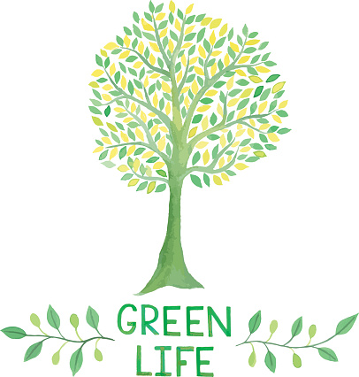 Watercolor Green Logo With Green Tree Green Life Stock Illustration - Download Image Now