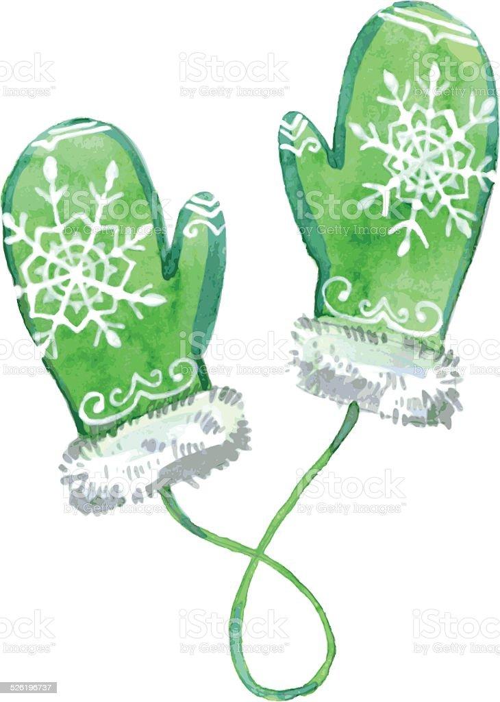 Watercolor green mittens. Vector illustration. vector art illustration