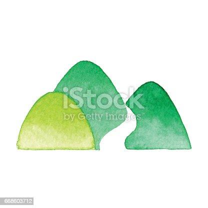 Watercolor Green Mountain icon