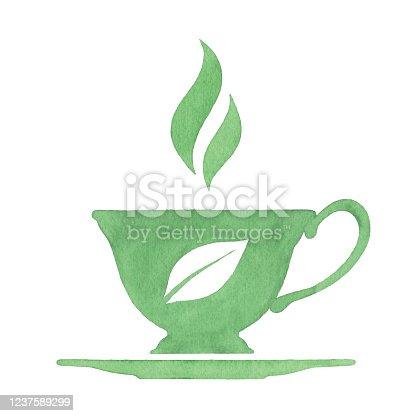 istock Watercolor Green Tea Cup 1237589299
