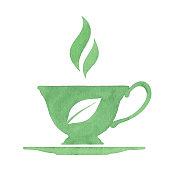 Vector illustration of tea cup logo.