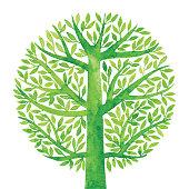 Watercolor Green Tree Circle