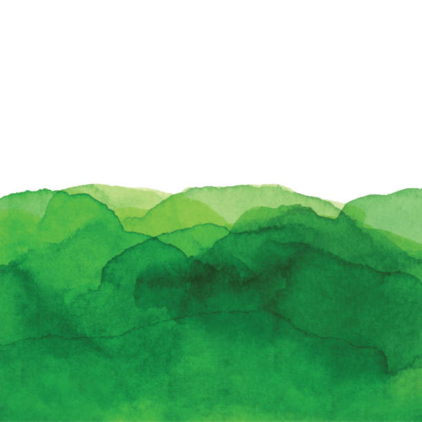 stockillustraties, clipart, cartoons en iconen met aquarel groene golven achtergrond - groene kleuren
