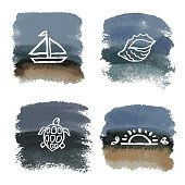 Watercolor grunge background, marine design for your layout or logo. Vector illustration.
