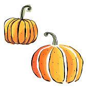 Watercolor halloween pumpkins