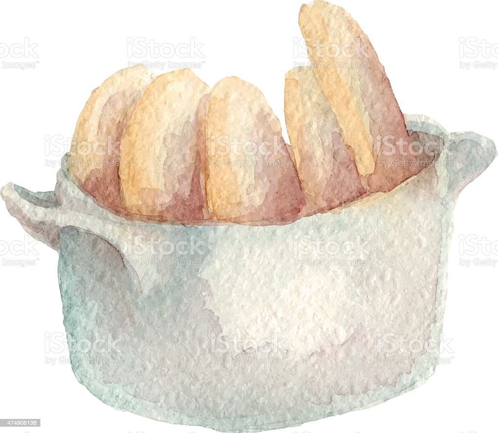 Watercolor hand drawn biscotti. vector art illustration