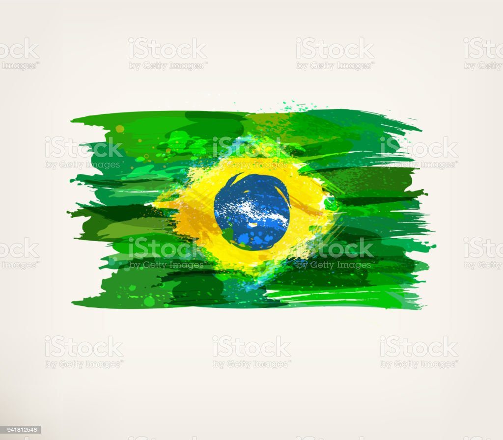Watercolor hand drawn Brazilian flag vector art illustration