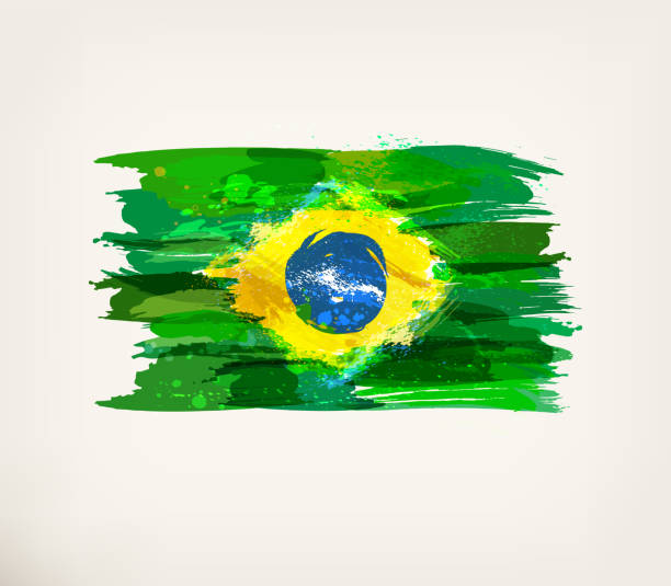 Watercolor hand drawn Brazilian flag vector art illustration